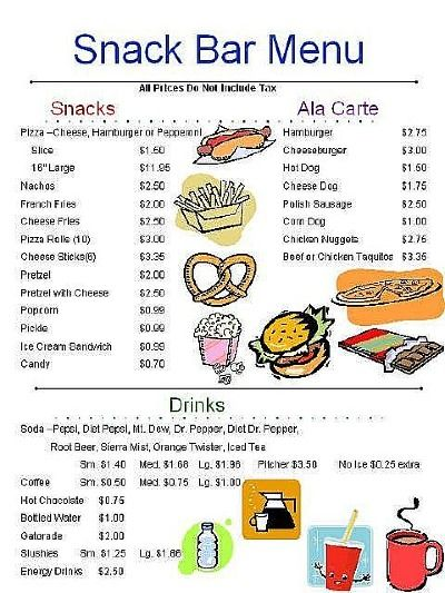 Pin by lindsay highley on school store pinterest for Snack bar menu