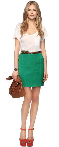 white tee and green skirt