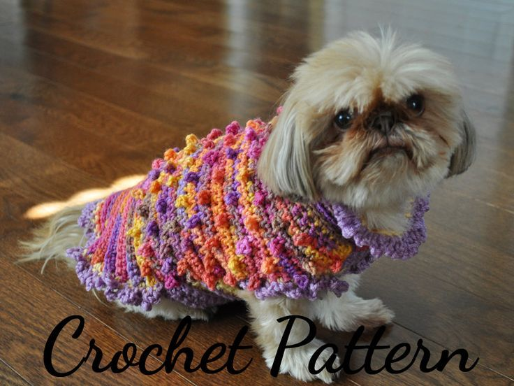 Crochet Patterns For Dogs : ... Tiny Bobbles & Frills Sweater for Small Dogs - PDF Dog Sweater Crochet