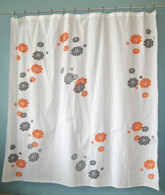 Orange And Gray Shower Curtain Country Cottage Home Pinterest