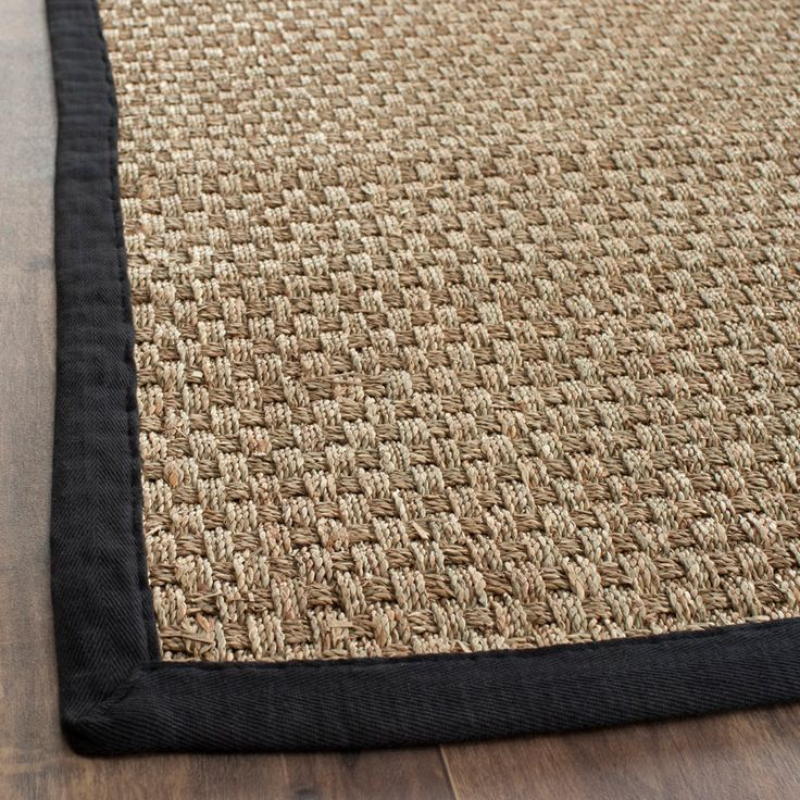 Casual Handwoven Sisal Natural Black Seagrass Rug 8 x 10