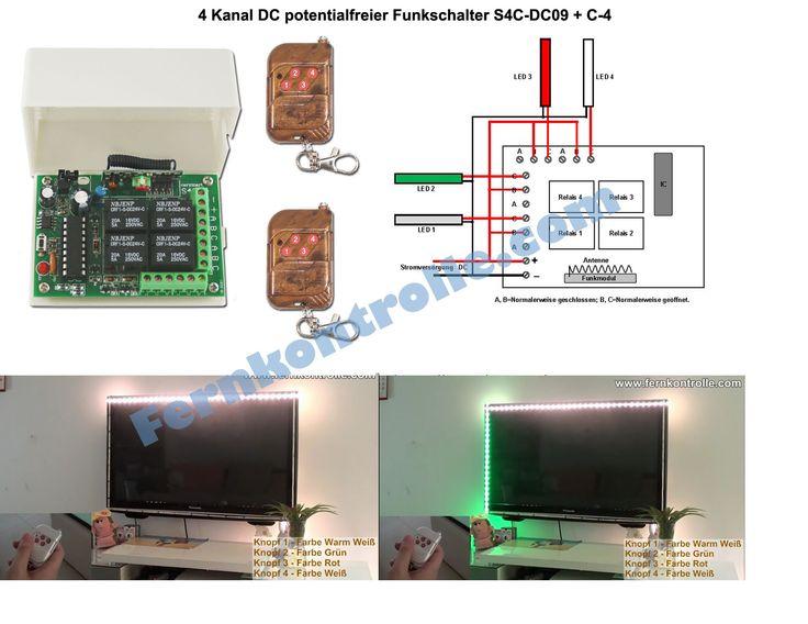 ein ausschalten von 4 leds auf fernseh wand mit 4 kanal dc relais funkschalter. Black Bedroom Furniture Sets. Home Design Ideas