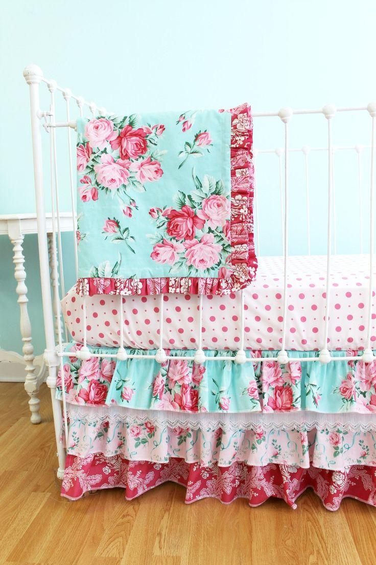 bumperless shabby chic roses crib bedding set. Black Bedroom Furniture Sets. Home Design Ideas