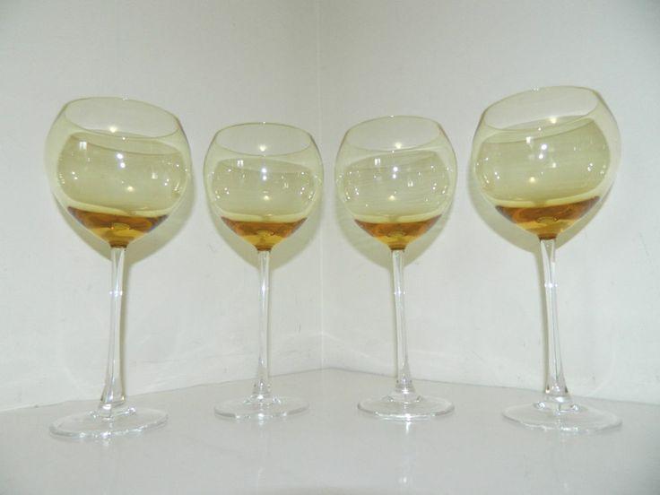 Set Of 4 Lenox Wine Glasses Yellow Amber Crystal