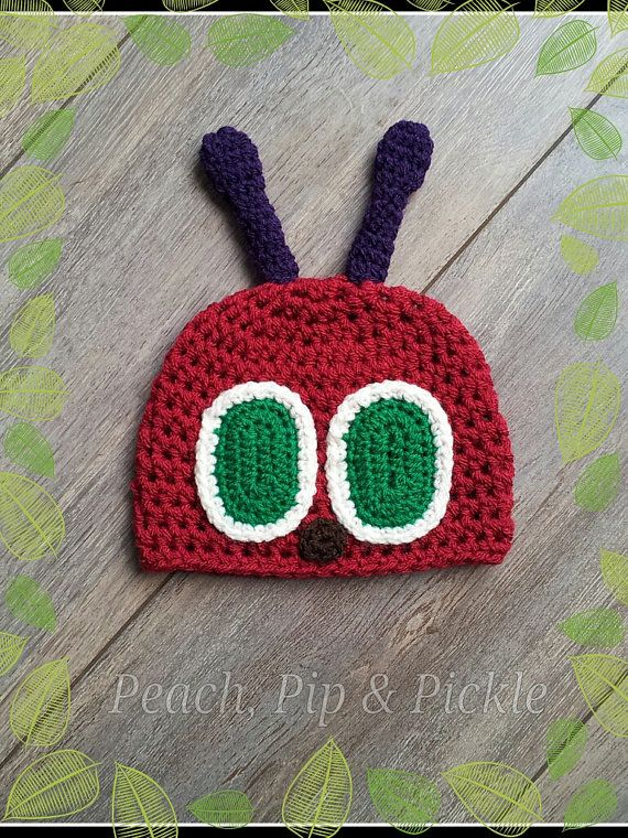 The Very Hungry Caterpillar crochet baby hat