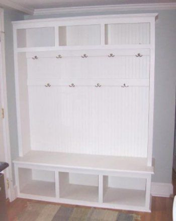 Tall mudroom storage, from an Old entertainment unit, via Pinterest