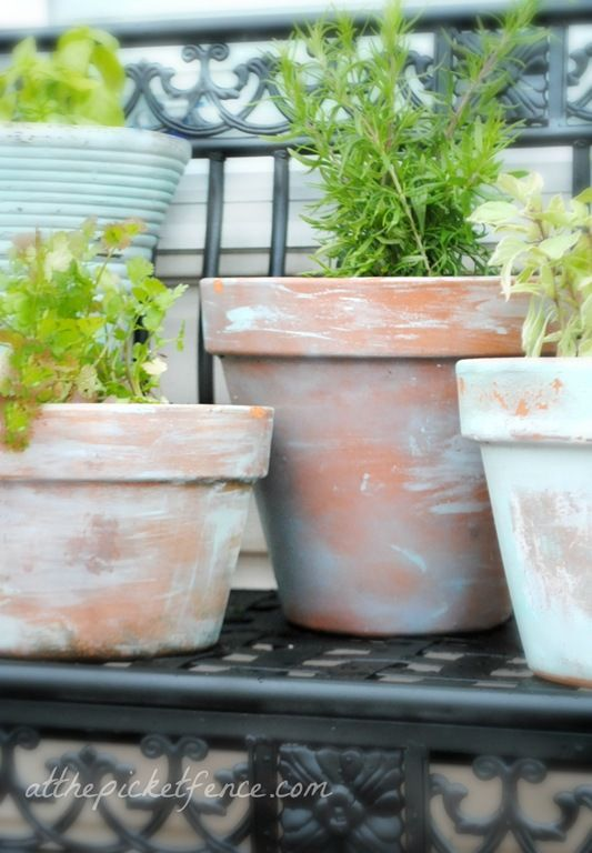 diy aging terracotta pots - add some soft pretty color to your pots!