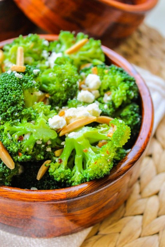 Broccoli with Feta and Fried Almonds | Recipe