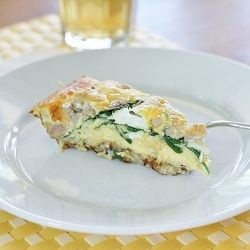 Potato, Sausage, and Spinach Casserole - using potatoes as a crust is ...