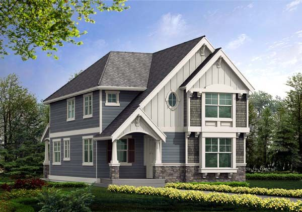 Craftsman house plans for a narrow lot joy studio design for Narrow lot craftsman house plans