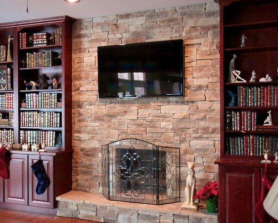 Stone Fireplaces With TV And Bookshelves Living Room Built In Books