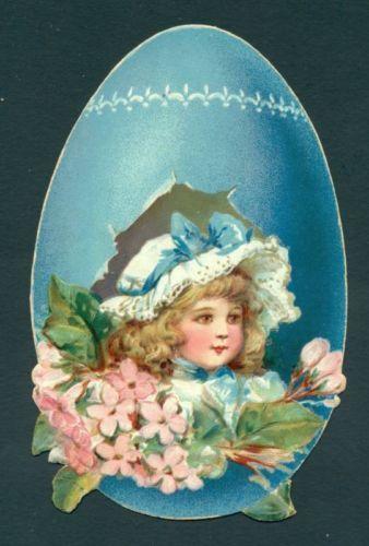 B8011 Easter egg postcard, Used, Girl in blue bonnet
