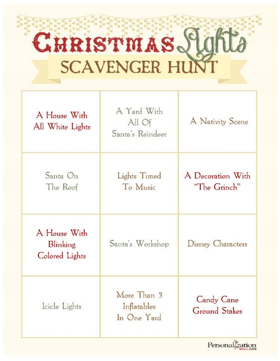 Free Printable for a Christmas Lights Scavenger Hunt! You can play in the car with this kids as you drive around looking at lights! SO cute! #Free #Printable #ChristmasGame #ScavengerHunt