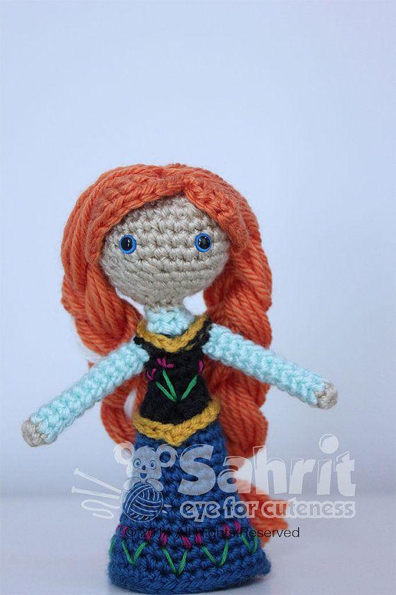 Crochet Frozen Doll Pattern : PATTERN Instant Download Anna Frozen Crochet Doll Amigurumi