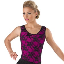 Floral Lace Tank Leotard. The perfect layering piece for auditions.