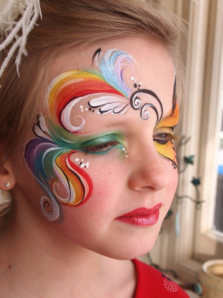 Rainbow Ribbons Face Painting   me/she   Pinterest