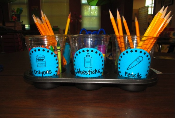 student supplies caddy- using plastic cups put inside a muffin tin!
