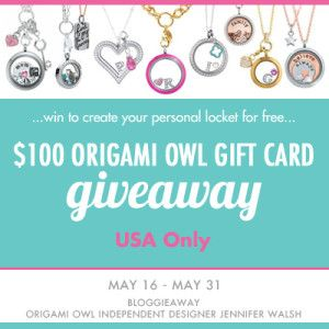 Only 13 hours left to win the 100 origami owl gift card giveaway