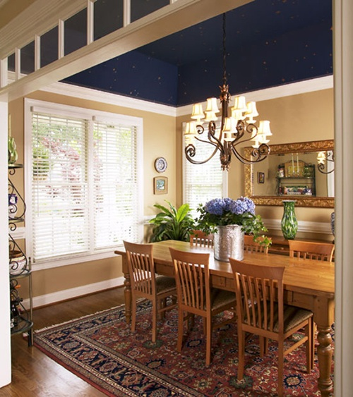 Navy Blue Ceiling In Dining Room Wall Treatments Pinterest