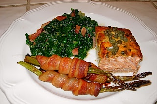 Salmon with Bacon-Wrapped Asparagus Spears and Sauteed Spinach. From ...