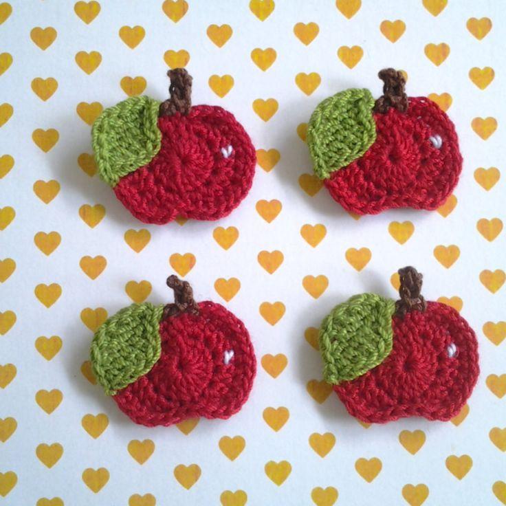 Free Crochet Patterns Using Fine Yarn : 4pcs - Red Whole Apple Crochet Appliques - fine acrylic ...