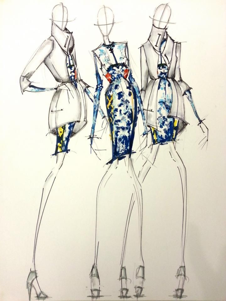 Line Art Illustration Style : Mary katrantzou fashion illustration this or that