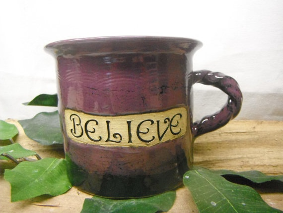 Straight Jumbo Coffee Mug Inspirational BELIEVE  by FattyFrogPots, $16.00