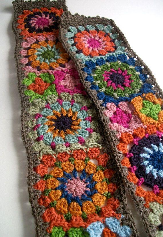 Free Crochet Granny Square Scarf Patterns : Folk City Cozy Granny Square Scarf