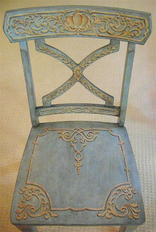 Painted gorgeousness turns a very simple [cheap] chair into a throne! Jeff Huckaby Painting - the incredible!