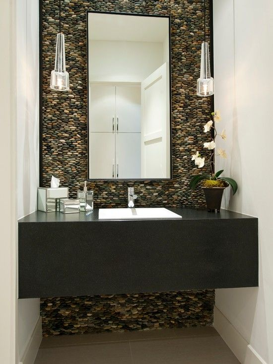 Natural Bathroom With Stone Accent Wall Home Decor