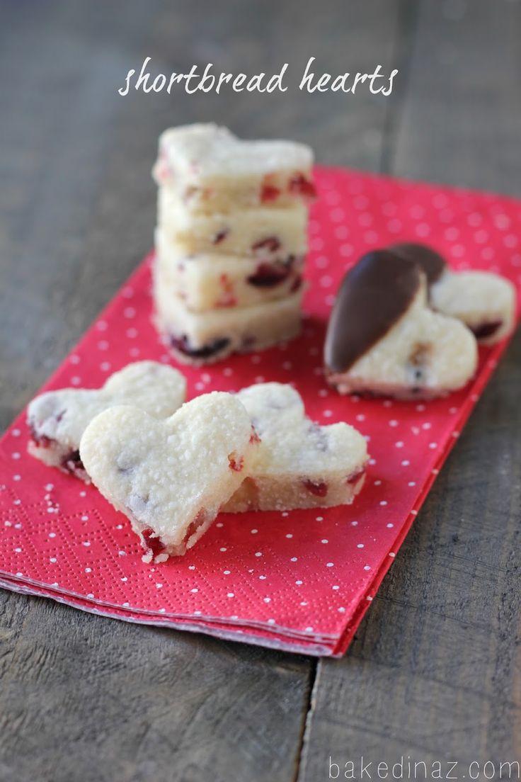 Dried Cranberry Shortbread Hearts - bakedinaz.com #heart #shortbread # ...