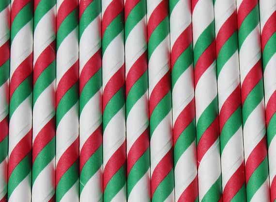 Christmas 24 Red Green Stripe Paper Drinking Straws - Perfect for your ...
