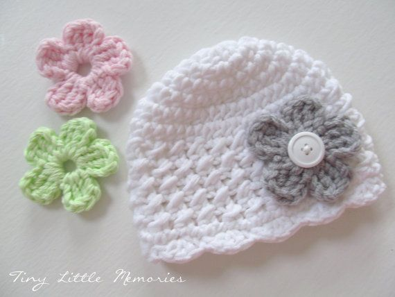 Baby Crochet Hat with Interchangeable Flowers, COLOR of ...