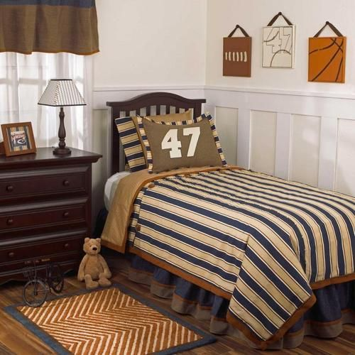 Navy blue and brown striped sports kids full size boys - Navy blue and brown bedroom ...