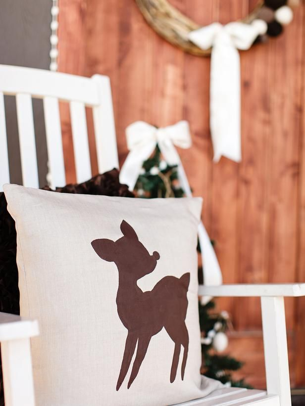 Cozy up a chair with this adorable DIY reindeer pillow.  Get the free template and instructions at HGTV.com>> http://www.hgtv.com/handmade/8-easy-front-porch-holiday-decorating-ideas/pictures/page-2.html?soc=pinterest