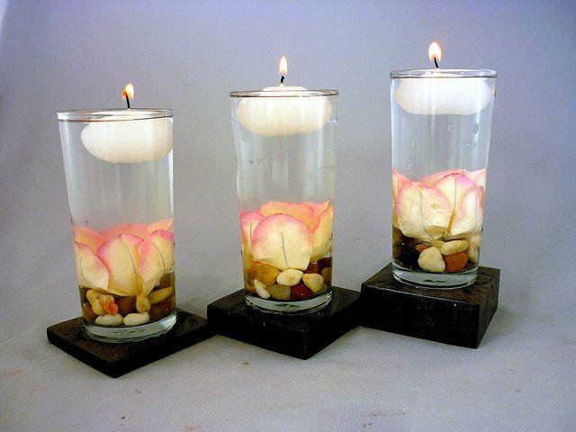 decoracion de mesas con velas flotantes eventos