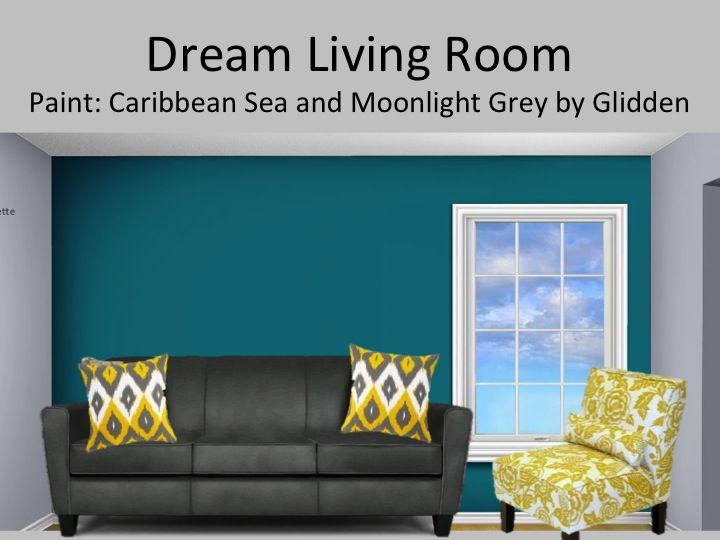 Light Green Walls with Grey and Teal Living Room Accents 720 x 540