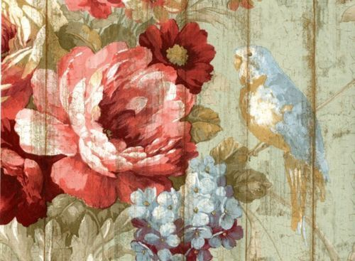Bird Rose French Cottage Floral Victorian Wallpaper