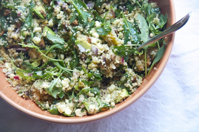 Green quinoa with corn, scallions, plum, and pistachios ...