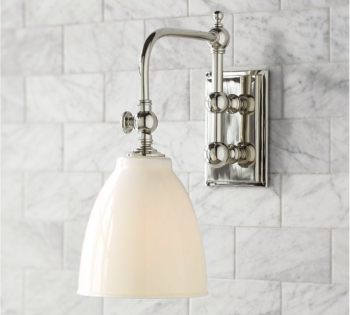Potential sconce pottery barn bathrooms pinterest for Wall sconces for bathrooms