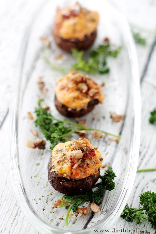 Salsa Bacon and Cheese Dip Stuffed Mushrooms