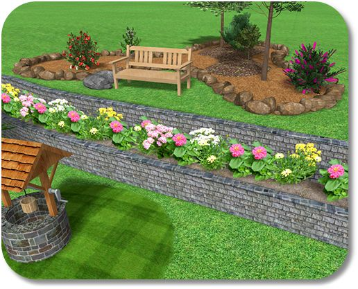 2 level and raised flower bed outdoors and landscaping for Flower bed wall designs