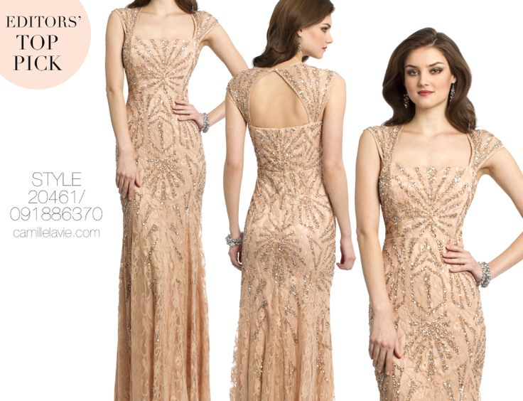 Camille La Vie Beaded Lace Long Evening Gown Prom Dress