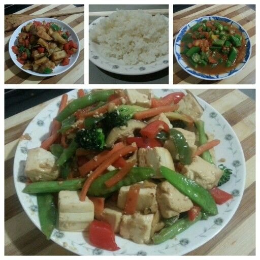 ... white rice and tofu mushroom beans carrots and bell pepper stir fry