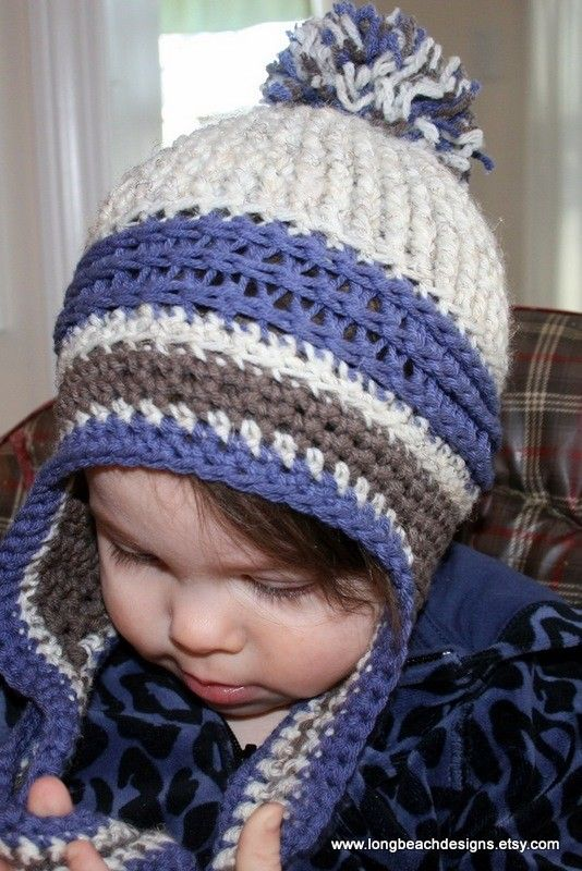 Newborn Crochet Hat Pattern With Ear Flaps : Crochet Baby Hat Pattern, Ear Flap Crochet Pattern, Kids ...