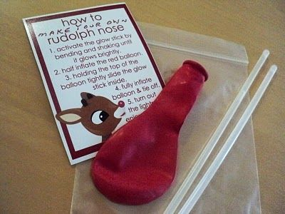 Rudolph Noses - one helium quality red balloon, two glowsticks, one instruction card.