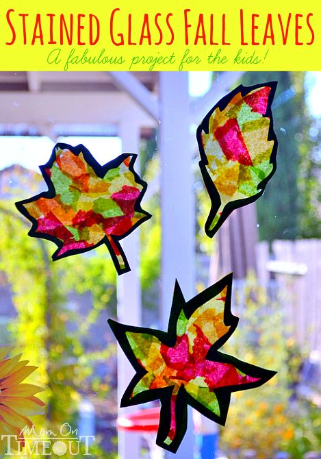 Have your kids decorate your windows and doors with stained glass fall leaves!