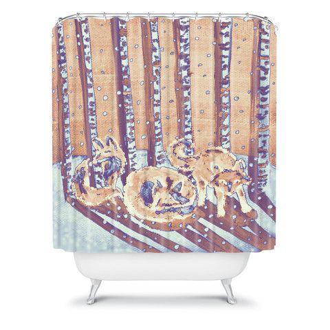Birch trees batik melon shower curtain fox animal forest bath