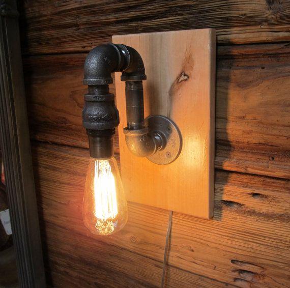 Black Pipe Wall Sconces : Black Pipe Wall Sconce Light on maple wood mounting