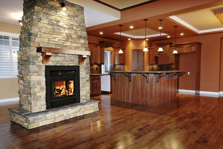 See through fireplace cabin interiors pinterest for Through fireplace